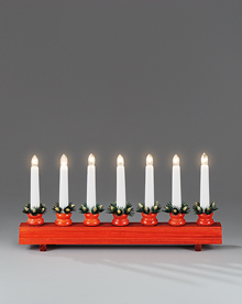 7 Light Candlestick in Red Stained Wood 230v – Now Only £12.00