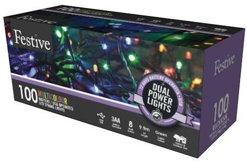 100 dual power lights with green cable  - Multicolour  – Now Only £10.00
