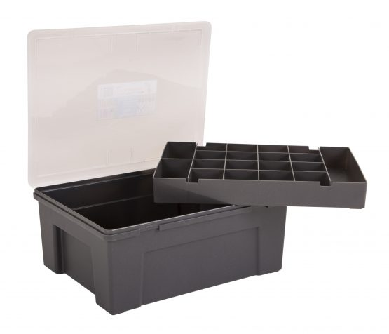 Organiser Box 38cm with 19 Division Removable Tray  - Graphite and clear – Now Only £7.00
