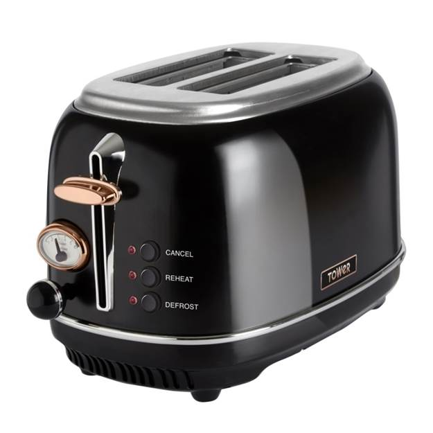 2 Slice Stainless Steel toaster - Black and Rose Gold Accents – Now Only £38.00