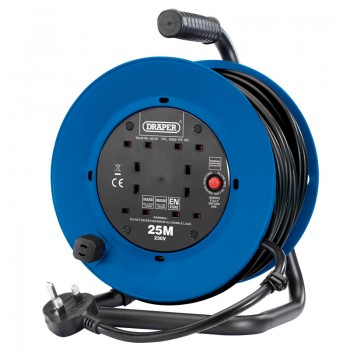 230V Heavy Duty Industrial Four Socket Cable Reel, 25m