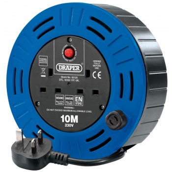 230V Twin Socket Cable Reel, 10m