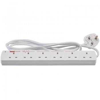 6 Way Extension Lead with Surge Protection, 2m