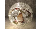 15cm Battery operated lit crackle effect Robin ball