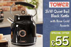 3kW 1.7L Stainless Steel Kettle Black with Rose Gold Accents – Now Only £55.00