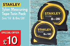 Stanley Tylon Tape Twin Pack 5m/16ft and 8m/26ft – Now Only £10.00