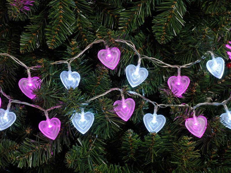 100 Lv heart lights Pink and White LED - Multi function – Now Only £15.00
