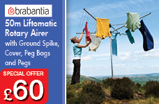 50m Liftomatic Rotary Airer with Ground Spike Cover Peg Bags and Pegs – Now Only £60.00