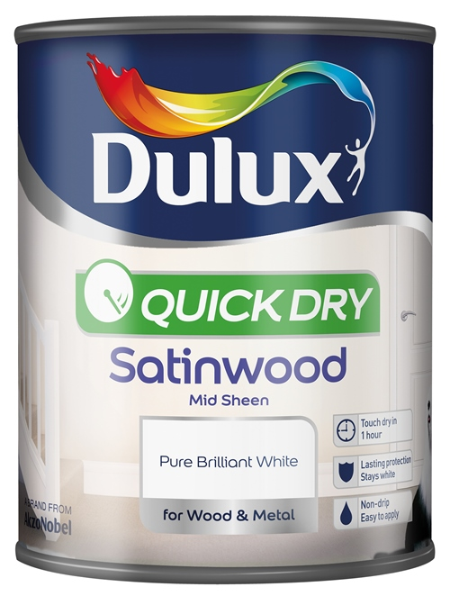 Quick Dry Satinwood 750ml Pure Brilliant White – Now Only £11.00