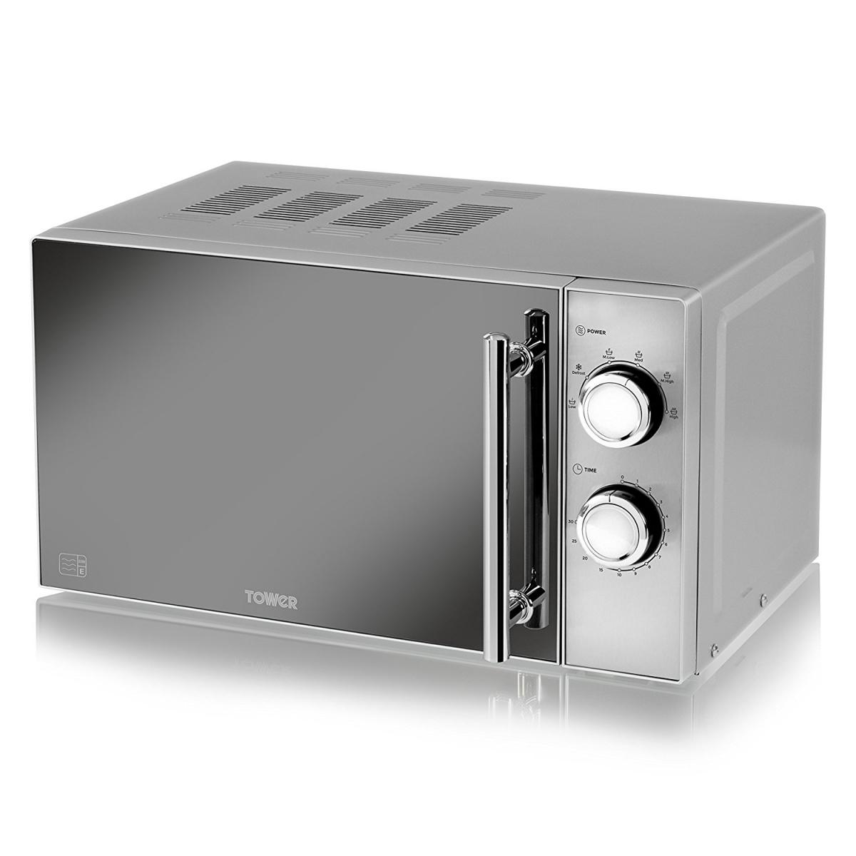 800W Microwave with Mirror Door - Silver