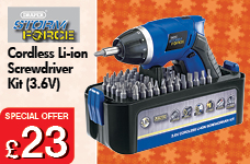 Storm Force® Cordless Li-ion Screwdriver Kit (3.6V) – Now Only £23.00