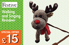 37cm Walking and Singing Reindeer – Now Only £15.00