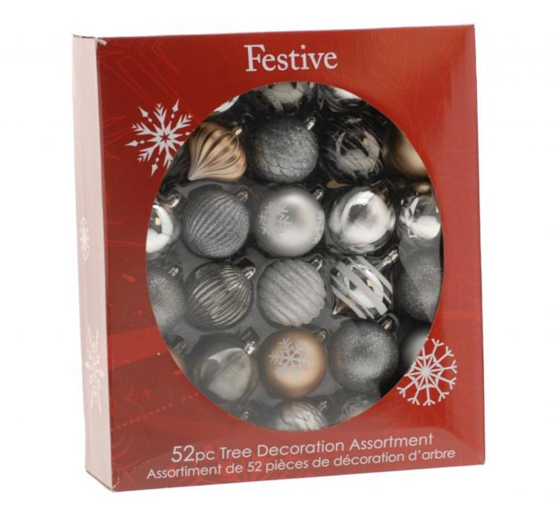 52 Piece Bauble pack - Silver/Copper/White  – Now Only £25.00