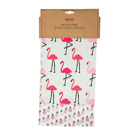 Flamingo Set of 2 Tea Towels - Pink
