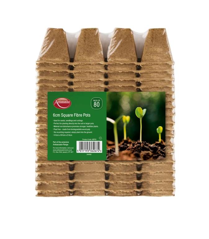 6cm Square Fibre Pots - Pack of 80 – Now Only £4.00