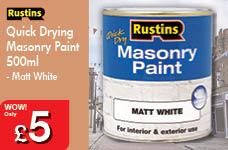 Quick Drying Masonry Paint 500ml - Matt White – Now Only £5.00