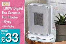 1.8KW Digital Eco Ceramic Fan Heater - Grey – Now Only £33.00