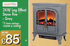 2KW Log Effect Stove Fire - Grey – Now Only £85.00