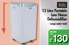 12 Litre Portable Low Noise Dehumidifier – Now Only £130.00