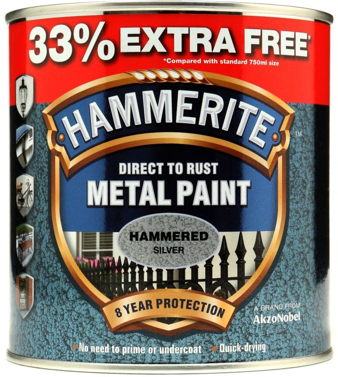 Metal Paint Hammered 750ml + 33% Free  - Silver – Now Only £17.00