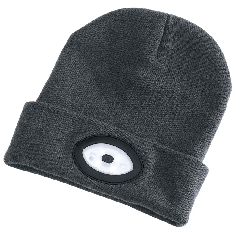 Grey Beanie Hat With 1W Rechargeable Torch – Now Only £11.00