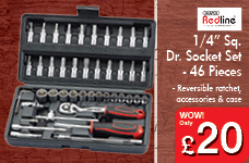 """1/4"""" Sq.  Dr. Socket Set - 46 Pieces – Now Only £20.00"""